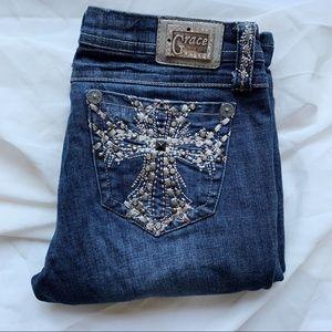 Grace in LA Bedazzled Bootcut Crosses Jeans